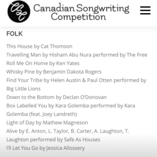 Canadian Songwriting Competition FOLK/Finalist