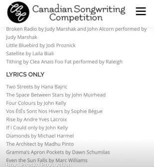 Canadian Songwriting Competition/Lyrics Only Finalist